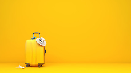Yellow suitcase packed and ready for summer vacation 3D Rendering