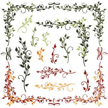 Blätter Blätterranken Vektor Set