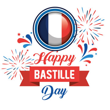 france flag with fireworks and ribbon decoration