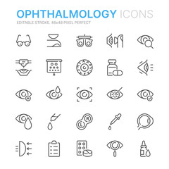 Collection of ophthalmology related line icons. 48x48 Pixel Perfect. Editable stroke