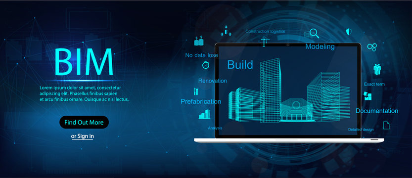 Bim (Building information modeling), Laptop and virtual design with icons and keywords BIM. Vector illustration