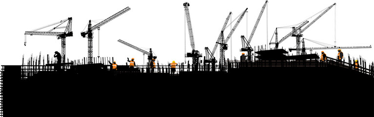 panorama with black buildings and ten cranes on white