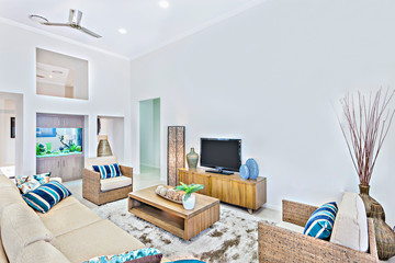 Room with comfortable look and walls.