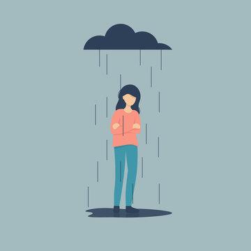 Sad female character standing under the rain. Overcast weather. Emotions. Solitude concept. Flat vector illustration design.