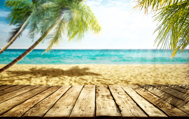 Fototapete - Wooden table of free space and summer background