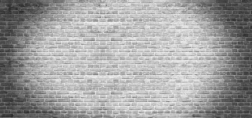 Fotobehang - Old vintage white brick wall texture for background, wide panoramic backdrop