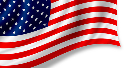 USA or American flag isolated on white background