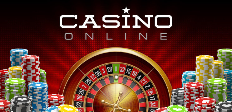illustration Online Poker casino banner with realistic american roulette red surface table. Marketing Luxury red Banner Jackpot Online Casino with 3d classic roulette. Advertising poster poker chips