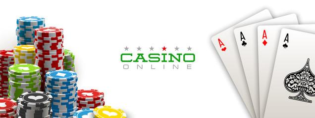 Fototapeta illustration Online web casino banner with american Poker playing cards isolated on white background. Marketing Luxury white Banner Poker playing card. Advertising poster set Online web Casino Jackpot
