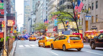 Zelfklevend Fotobehang New York TAXI New York, streets. High buildings, cars and cabs