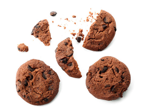 Tasty chocolate cookies on white background