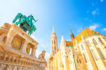 Wall Mural - Matthias Church and Saint Stephen's sculpture in Budapest