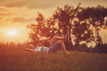 Man enjoying and relaxing in wheat field. Nature concept.