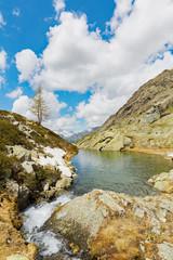 paesaggio alpino primaverile con laghetto