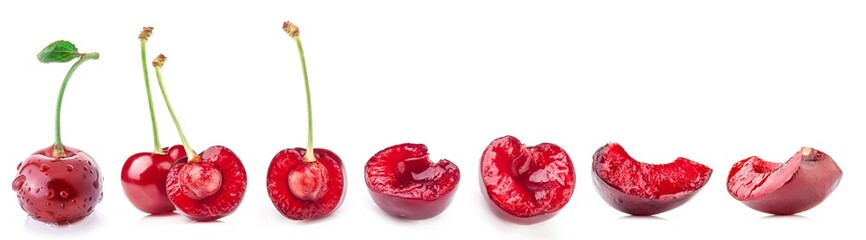 Slices of cherry isolated on white