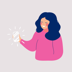 Young smiling woman taking selfie photo on smartphone.  Vector cartoon illustration of phone conversation