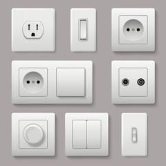 Wall switch. Power electrical socket electricity turn of and on plug vector realistic pictures. Electrical plug electric, power electricity sockets illustration