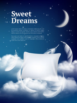 Night dream pillow. Advertizing poster with pillows clouds and feathers comfortable space vector realistic concept. Illustration of night sleep, pillow with feather