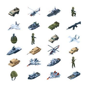 Military transport. Army gadget armor uniform weapons guns tanks grenades security tools vector isometric. Military isometric army warfare, vehicle tank power illustration