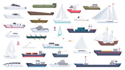 Fototapeta Sea ship. Travel boat boating illustrations motorboat ocean big vessel vector cartoon. Sea travel cruise, boat and ship, yacht transport, speedboat and powerboat, tugboat and sailboat illustration
