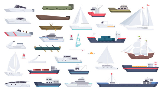 Sea ship. Travel boat boating illustrations motorboat ocean big vessel vector cartoon. Sea travel cruise, boat and ship, yacht transport, speedboat and powerboat, tugboat and sailboat illustration