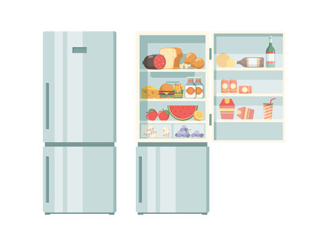 Open refrigerator. Healthy food in frozy refrigerator vegetables meat juce cakes steak supermarket products vector pictures. Illustration of refrigerator with bottle beverage and food