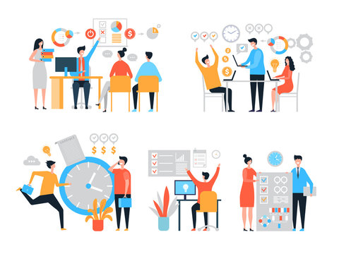 Work organization. Task management people productivity organize process efficiency vector stylized characters. Time management and organization, efficiency project, businessman planning illustration