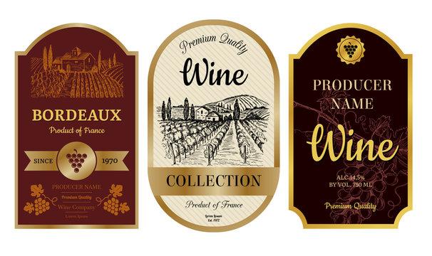 Vintage wine labels. Alcohol badges with pictures of vineyard chateau village bordeaux labels vector collection. Illustration of badge banner and emblem, wine drink sticker