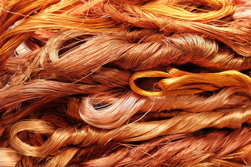 Scrap copper wire texture background