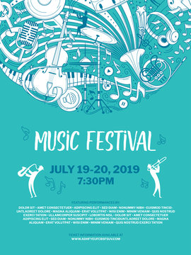 Vintage music festival vector poster template