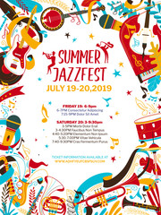 Jazz music night flat vector poster template
