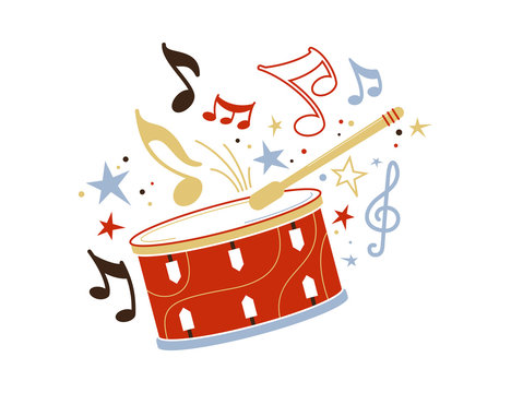 Festive drum and stick flat vector illustration