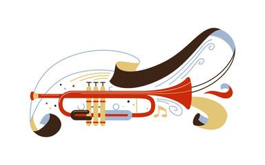 Trumpet flat vector illustration Wall mural
