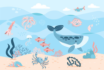 Sea inhabitants. Octopus, whale, fish, crab and algae. Marine life on sea bottom with ankor on sand. Hand drawn flat cartoon background. Underwather world. Vector illustration of Undersea Landscape