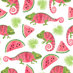 Seamless tropical pattern with cute watercolor chameleons, watermelons and palm leaves