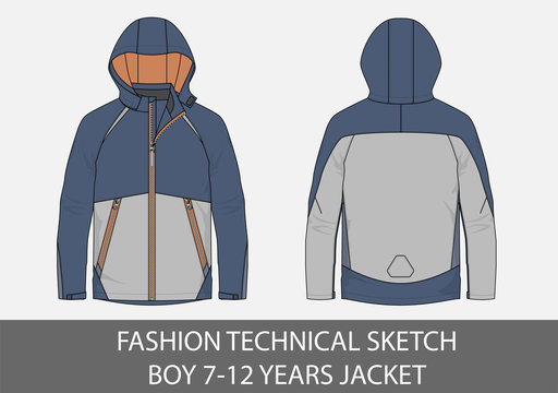 Fashion technical sketch  boy 7-12  jacket