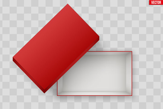 Blank of Open Red Shoe Box