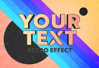 Retro Pop 3D Text Effect Mockup