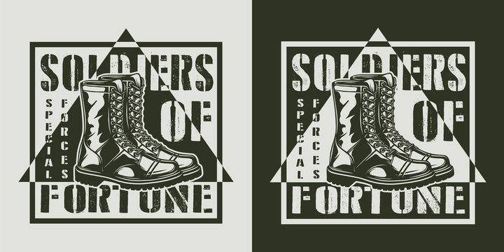 Monochrome military logotype
