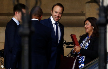 Britain's Secretary of State for Health Matt Hancock is seen near the Parliament grounds in London