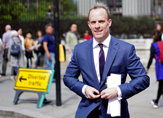Dominic Raab, leadership candidate for Britain's Conservative Prime Minister walks near the Parliament grounds in London
