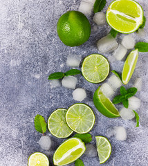 Fototapete - Ingredients for Mojito. Fresh lime, mint and ice