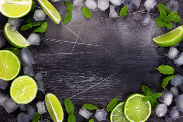 Wall Mural - Fresh lime, mint and ice on dark background.