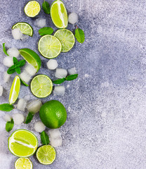 Fototapete - Fresh lime, mint and ice. Ingredients for Mojito