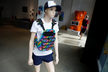 "A mannequin is seen wearing a bullet proof vest as part of an art installation by artist WhIsBe titled ""Back to School Shopping"" to illustrate the dangers of gun violence in schools, at a gallery in New York City"