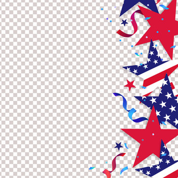 Fourth of July. 4th of July holiday background. USA Independence Day Decoration elements - confetti stars in national colors isolated on background.