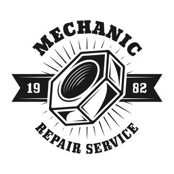 Auto repair service vector emblem with screw nut