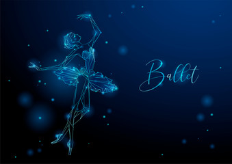 Ballerina. Glowing fantastic picture of a dancing girl. Neon graphics. Vector.