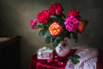 Still life with luxurious bouquet of roses