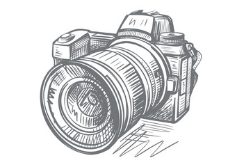 Modern camera in doodle style. Gray hand drawn